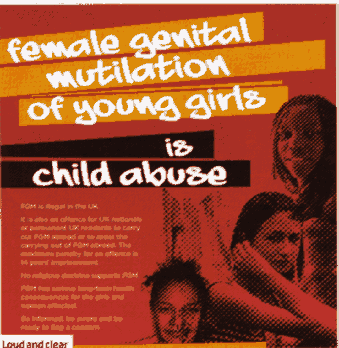 Female genital mutilation of young girls is child abuse. © UK Government